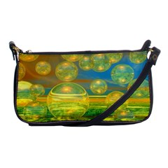 Golden Days, Abstract Yellow Azure Tranquility Evening Bag