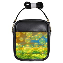 Golden Days, Abstract Yellow Azure Tranquility Girl s Sling Bag