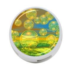 Golden Days, Abstract Yellow Azure Tranquility 4-Port USB Hub (Two Sides)