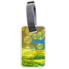 Golden Days, Abstract Yellow Azure Tranquility Luggage Tag (One Side)