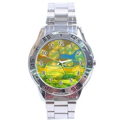 Golden Days, Abstract Yellow Azure Tranquility Stainless Steel Watch