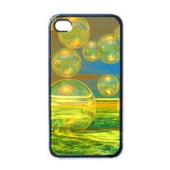 Golden Days, Abstract Yellow Azure Tranquility Apple Iphone 4 Case (black)
