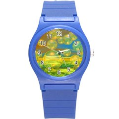 Golden Days, Abstract Yellow Azure Tranquility Plastic Sport Watch (Small)