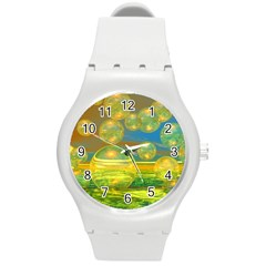 Golden Days, Abstract Yellow Azure Tranquility Plastic Sport Watch (Medium)