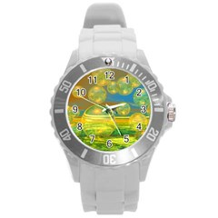 Golden Days, Abstract Yellow Azure Tranquility Plastic Sport Watch (large)