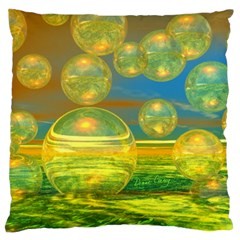 Golden Days, Abstract Yellow Azure Tranquility Large Cushion Case (Single Sided)