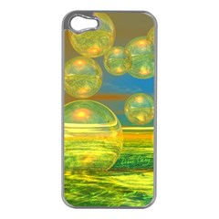 Golden Days, Abstract Yellow Azure Tranquility Apple iPhone 5 Case (Silver)