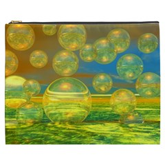 Golden Days, Abstract Yellow Azure Tranquility Cosmetic Bag (XXXL)