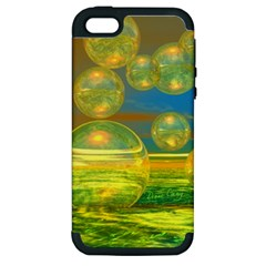 Golden Days, Abstract Yellow Azure Tranquility Apple Iphone 5 Hardshell Case (pc+silicone)