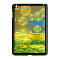 Golden Days, Abstract Yellow Azure Tranquility Apple iPad Mini Case (Black)