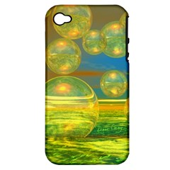 Golden Days, Abstract Yellow Azure Tranquility Apple Iphone 4/4s Hardshell Case (pc+silicone)