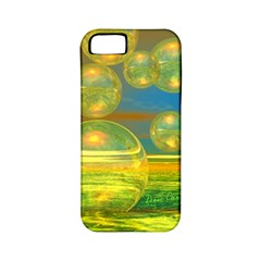 Golden Days, Abstract Yellow Azure Tranquility Apple Iphone 5 Classic Hardshell Case (pc+silicone)
