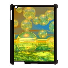 Golden Days, Abstract Yellow Azure Tranquility Apple iPad 3/4 Case (Black)