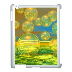 Golden Days, Abstract Yellow Azure Tranquility Apple iPad 3/4 Case (White)