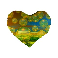 Golden Days, Abstract Yellow Azure Tranquility 16  Premium Heart Shape Cushion