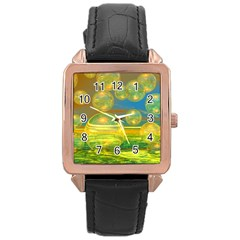 Golden Days, Abstract Yellow Azure Tranquility Rose Gold Leather Watch