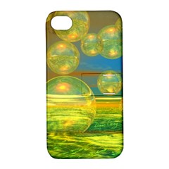 Golden Days, Abstract Yellow Azure Tranquility Apple iPhone 4/4S Hardshell Case with Stand