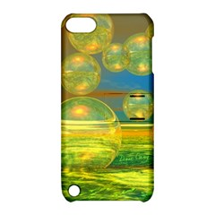 Golden Days, Abstract Yellow Azure Tranquility Apple Ipod Touch 5 Hardshell Case With Stand