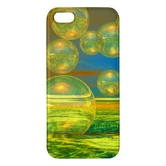 Golden Days, Abstract Yellow Azure Tranquility Apple Iphone 5 Premium Hardshell Case