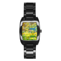 Golden Days, Abstract Yellow Azure Tranquility Stainless Steel Barrel Watch