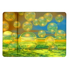 Golden Days, Abstract Yellow Azure Tranquility Samsung Galaxy Tab 10.1  P7500 Flip Case
