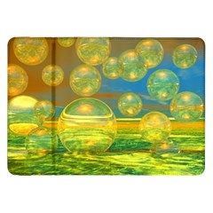 Golden Days, Abstract Yellow Azure Tranquility Samsung Galaxy Tab 8.9  P7300 Flip Case