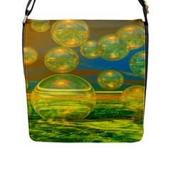Golden Days, Abstract Yellow Azure Tranquility Flap Closure Messenger Bag (Large)