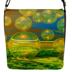 Golden Days, Abstract Yellow Azure Tranquility Flap Closure Messenger Bag (small)