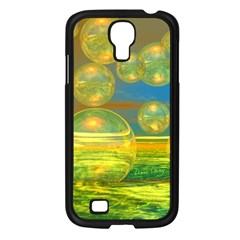 Golden Days, Abstract Yellow Azure Tranquility Samsung Galaxy S4 I9500/ I9505 Case (Black)