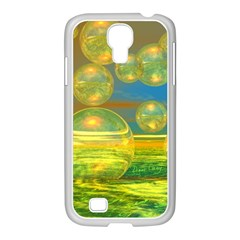 Golden Days, Abstract Yellow Azure Tranquility Samsung GALAXY S4 I9500/ I9505 Case (White)