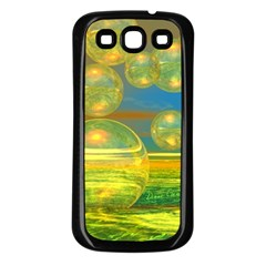Golden Days, Abstract Yellow Azure Tranquility Samsung Galaxy S3 Back Case (Black)
