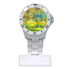 Golden Days, Abstract Yellow Azure Tranquility Nurses Watch