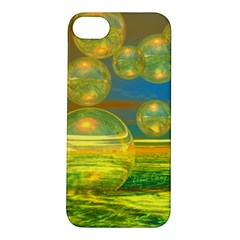 Golden Days, Abstract Yellow Azure Tranquility Apple iPhone 5S Hardshell Case