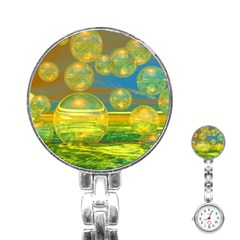 Golden Days, Abstract Yellow Azure Tranquility Stainless Steel Nurses Watch