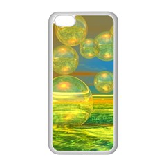 Golden Days, Abstract Yellow Azure Tranquility Apple iPhone 5C Seamless Case (White)