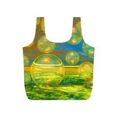 Golden Days, Abstract Yellow Azure Tranquility Reusable Bag (S)