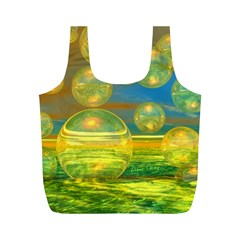 Golden Days, Abstract Yellow Azure Tranquility Reusable Bag (M)