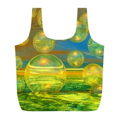 Golden Days, Abstract Yellow Azure Tranquility Reusable Bag (L)