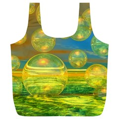 Golden Days, Abstract Yellow Azure Tranquility Reusable Bag (XL)