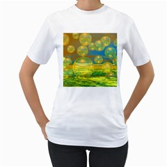 Golden Days, Abstract Yellow Azure Tranquility Women s T-Shirt (White)