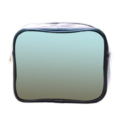 Blue Gold Gradient Mini Travel Toiletry Bag (one Side)