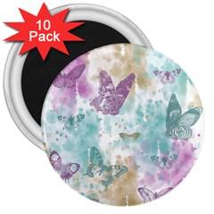 Joy Butterflies 3  Button Magnet (10 Pack)