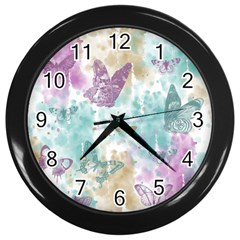 Joy Butterflies Wall Clock (Black)