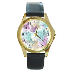 Joy Butterflies Round Leather Watch (Gold Rim)