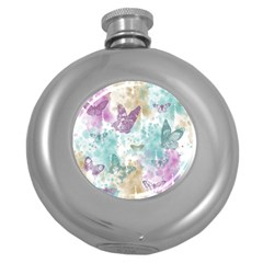 Joy Butterflies Hip Flask (Round)