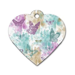 Joy Butterflies Dog Tag Heart (Two Sided)