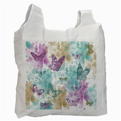 Joy Butterflies White Reusable Bag (One Side)