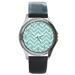 Blue And White Chevron Round Leather Watch (Silver Rim)