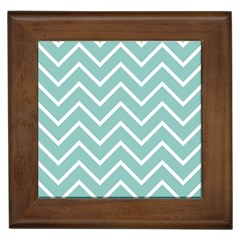 Blue And White Chevron Framed Ceramic Tile