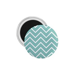 Blue And White Chevron 1 75  Button Magnet